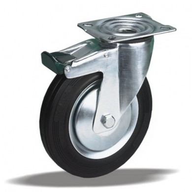 Колесо поворотное с тормозом Ø100 на 80kg