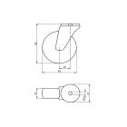Колесо поворотное полиуретановое Ø50 на 70kg