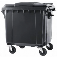 Контейнер для отходов на 1100 л (плоская крышка) (черный). Разобранный.