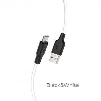 """Hoco """"X21 Plus"""" Силиконовый зарядный кабель для Micro (черный/белый)"""