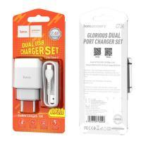 Hoco C73A Сетевое зарядное устройство двухпортовое (EU) (белый)