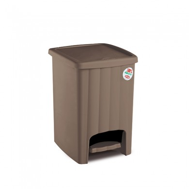 Пластиковая урна с педалью 20 л (коричневая)