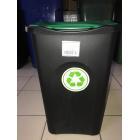 Корзина для мусора с педалью, 50 Л (бак черный,   крышка зеленая)