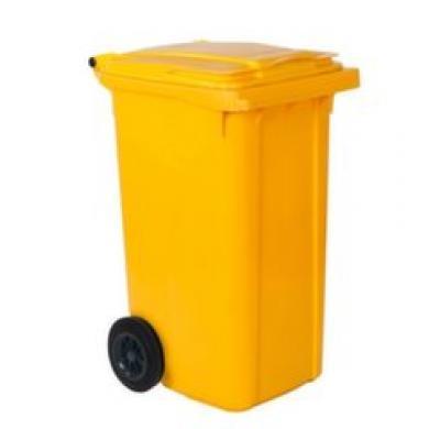 Контейнер для мусора с колесами EU 240 л (желтый)