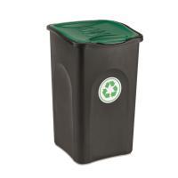 Корзина для мусора  50 Л (бак черный,   крышка зеленая)