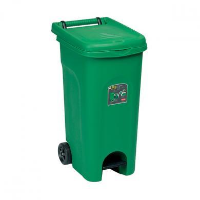 Урна для мусора 80Л, с педалью и колесами(Зеленый)