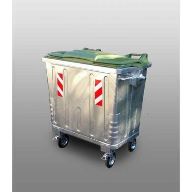 Оцинкованный контейнер с зеленой пластиковой крышкой(объем, 1100Л EU)