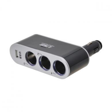 Переходник USB DC12-24V, 2A черный, серебро