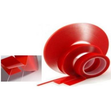 Скотч двусторонний 10мм (красный-прозрачная)